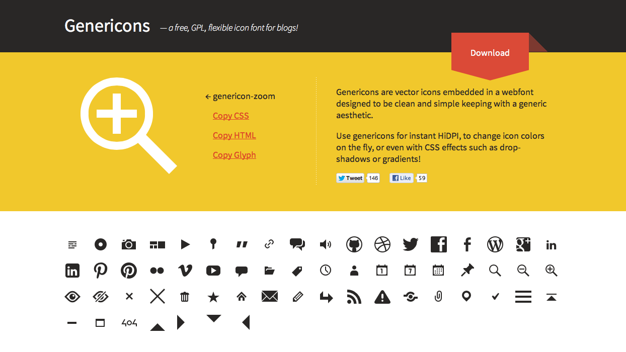 Genericons — a free, GPL, icon font for your site.