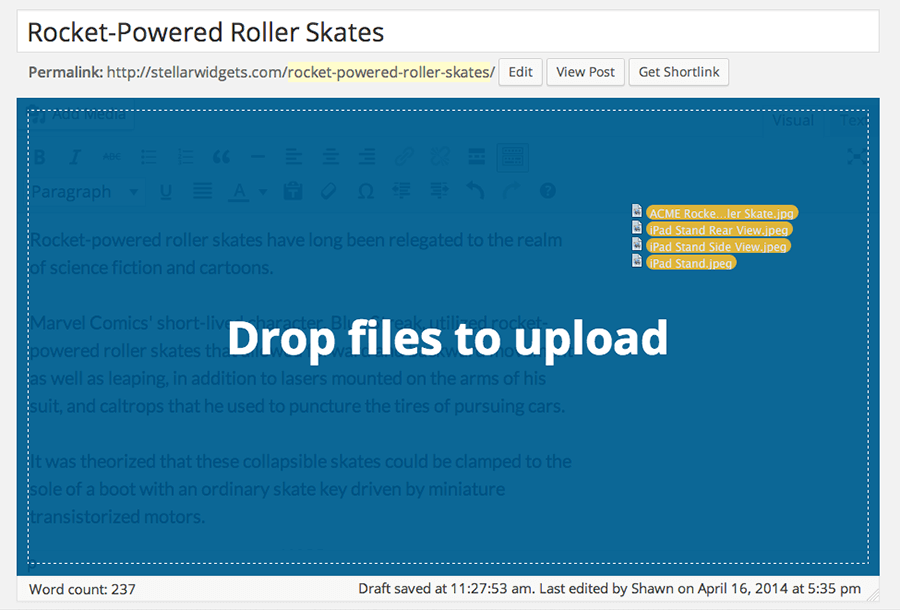 Drag and Drop Images in WordPress 3.9