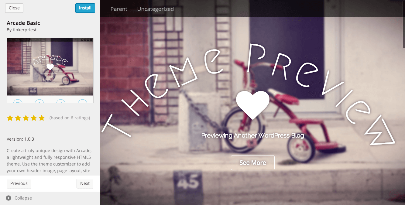 New Theme Preview in WordPress 3.9
