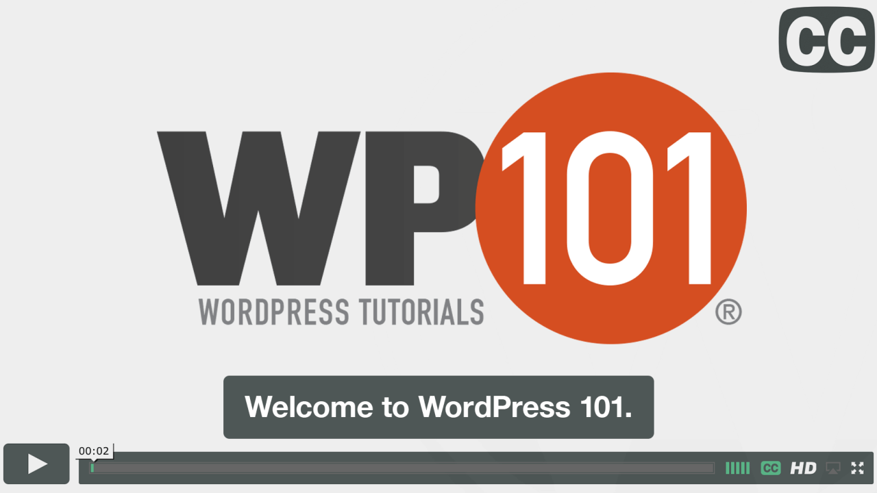 Closed Captioned WordPress 101 Tutorial Videos