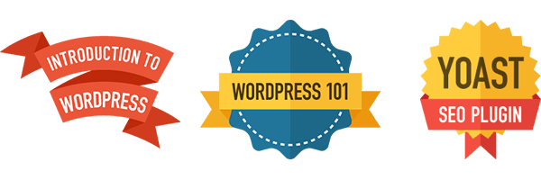 Earn badges for completing courses on WP101.