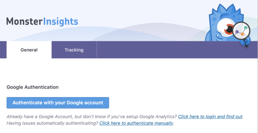 Authenticate with your Google Account ion MonsterInsights