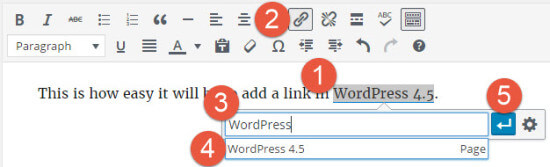 WordPress 4.5 Inline Links