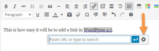 WordPress 4.5 Inline Link Settings