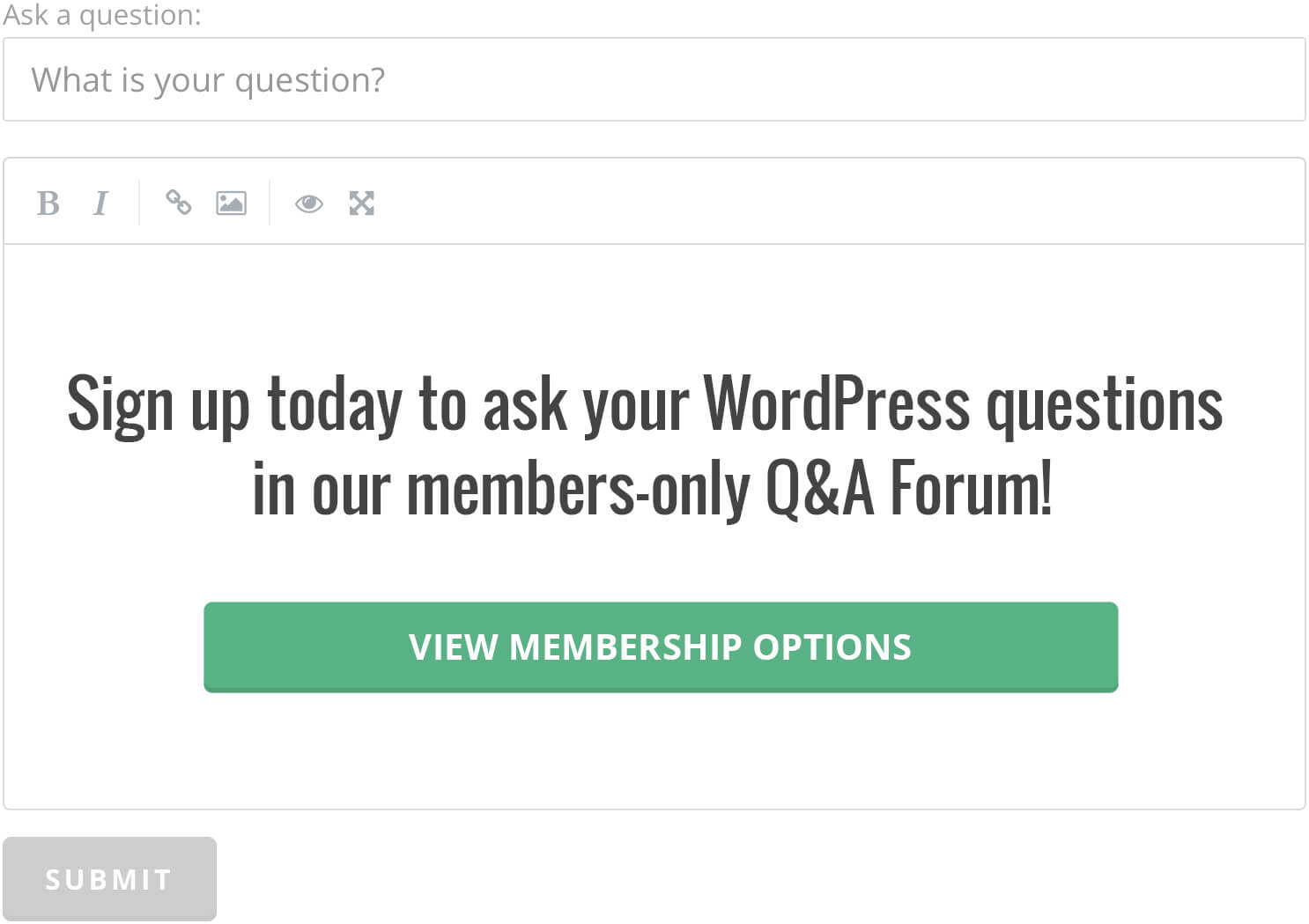 Sign up today to ask your WordPress questions in our members-only Q&A Forum!
