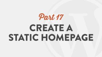 Create a Static Homepage in WordPress 5.0