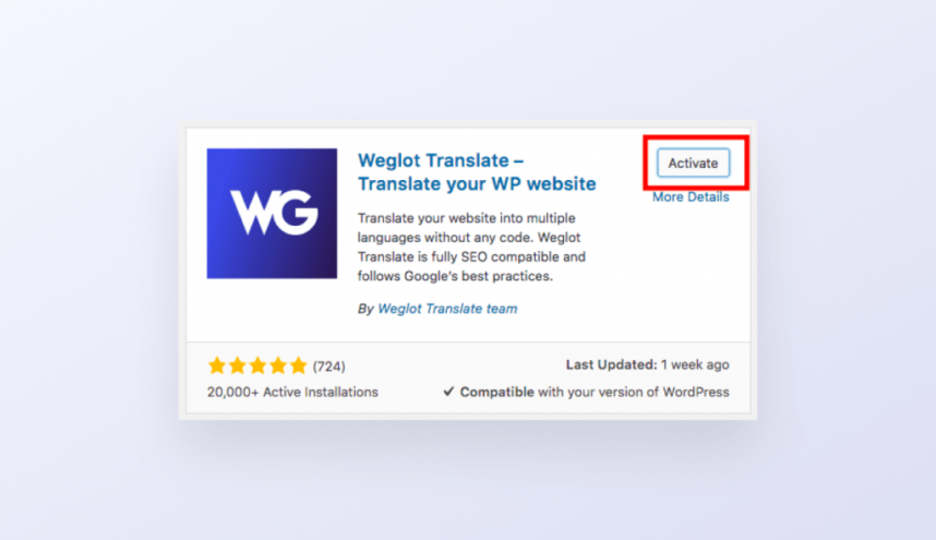 How to Activate the Weglot Plugin
