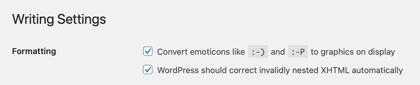 Writing Settings for Emoticons in WordPress